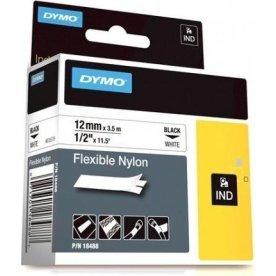 Dymo Rhino fleksibelt tape 12mm, sort på hvid