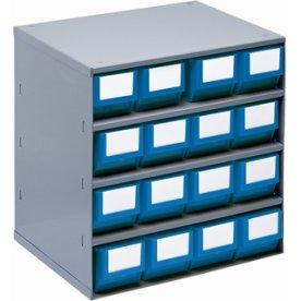 Lagermagasin inkl 16 x systemkas 1 (300x91x81),blå