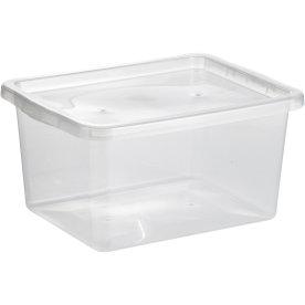 Basic plastboks inkl låg, 18 liter, Klar