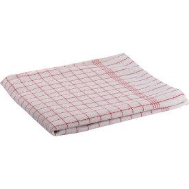Viskestykke 50 x 100 cm, hvid med røde tern