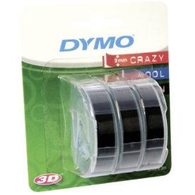 Dymo 3D prægetape m/lim, 9mm, sort, 3 stk