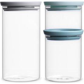 Brabantia Opbevaringsbøtter i glas, 3 stk.