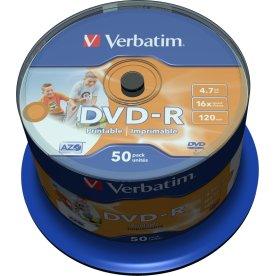 Verbatim DVD-R 4,7GB printable, spindel,  50 stk