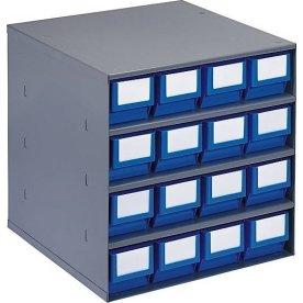 Lagermagasin inkl 16 x systemkas 3 (400x91x81),blå