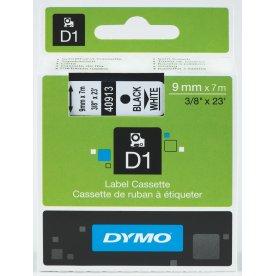 Dymo D1 labeltape 9mm, sort på hvid