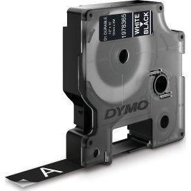 Dymo D1 Durable labeltape 12mm, hvid på sort