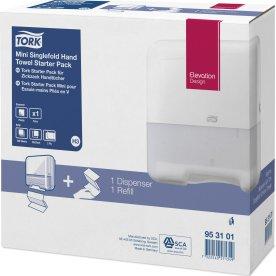 Tork H3 Startpakke Dispenser & Håndklædeark, hvid