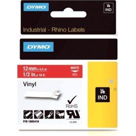 Dymo Rhino Vinyltape 12mm, hvid på rød