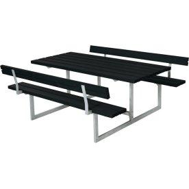 Plus Basic bord-bænkesæt med ryglæn, Sort