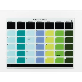 Magnetisk glastavle med månedsplan, farvet