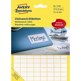 Avery 3306 manuelle etiketter, 13 x 8mm, 3712stk