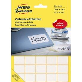 Avery 3318 manuelle etiketter, 22 x 18mm, 1200stk