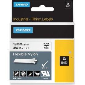 Dymo Rhino fleksibelt tape 19mm, sort på hvid