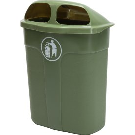 Affaldsbeholder i grøn, 60 liter - Udendørs
