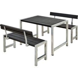 Plus Cafe Plankesæt m. ryglæn L. 127 cm, Sort