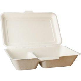 Komposterbar engangsboks, dobbel, 16,5x24x4,5 cm