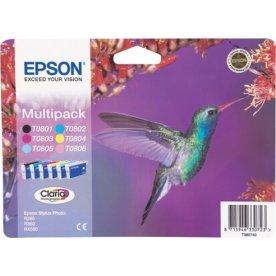 Epson T0807 blækpatroner, multipak, m/alarm