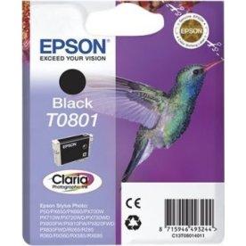 Epson Claria T0801 blækpatron, sort, m/alarm