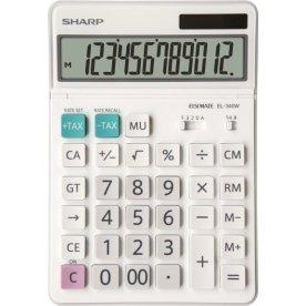 Sharp EL-340W lommeregner, 12 cifre, hvid