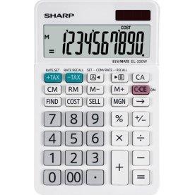 Sharp EL-330W lommeregner, 10 cifre, hvid