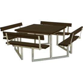 Plus Twist bord/bænkesæt, m/4 Ryglæn, Sort, 227 cm