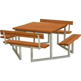 Plus Twist bord/bænkesæt, m/2 Ryglæn, Teak, 204 cm