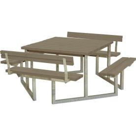 Plus Twist bord/bænkesæt m/2 Ryglæn, Gråbrun 204cm