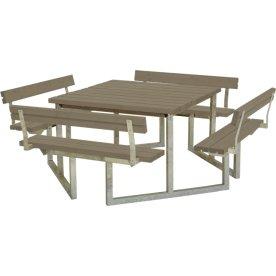 Plus Twist bord/bænkesæt m/4 Ryglæn, Gråbrun 227cm