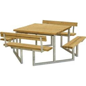Plus Twist bord/bænkesæt m/2 Ryglæn, Lærk, 204 cm