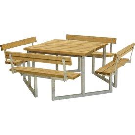 Plus Twist bord/bænkesæt m/4 Ryglæn, Lærk, 227 cm