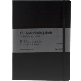 Notesbog A5 ulin. PU-mat. med elastiklukning, sort