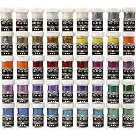Glitterdrys, ass. farver, 46x20 g