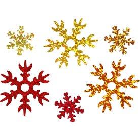 Pailletter Snefnug, guld/kobber/rød, 30 g