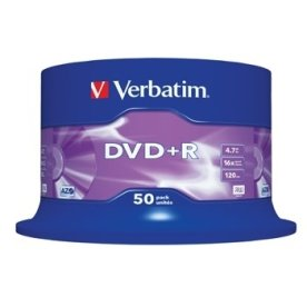 Verbatim DVD+R 16x 4,7GB spindel, 50 stk