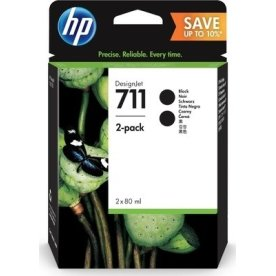 HP No 711 blækpatron, sort, 80 ml., 2 stk.