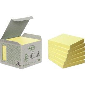 Post-it Green Notes 76 x 76 mm, genbrug, gul