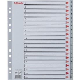 Esselte Maxi register A4, 1-20, plast, grå